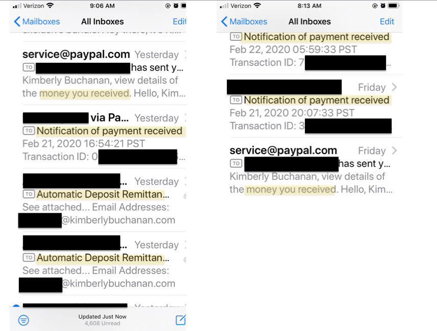 iphone screen shot of emails